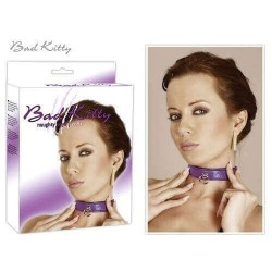 COLLARE BAD KITTY COLLAR IN PELLE TRAPUNTATO - VIOLA